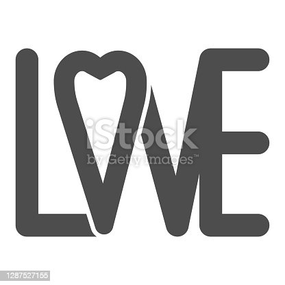 istock Love lettering solid icon, valentine day concept, calligraphy with heart sign on white background, font for card and typography icon in glyph style for mobile concept. Vector graphics. 1287527155