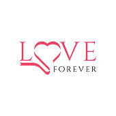 Love calligraphy phrase. Love lettering vector for background, Vector hand drawn illustration with brush painted word Love and curly heart shape. Valentines Day theme. Romantic design for prints, apparel, poster, wedding decor. Love Logo. Love template.