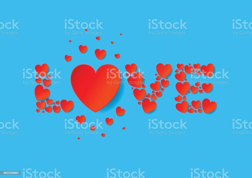 Cartas De Amor Plano Ponen Con Corazones De Papel Rojo Vector Sobre