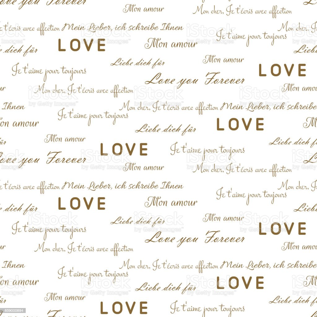 Love Letters Seamless Vector Pattern On White Romantic Valentine ...