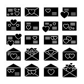 Love letters symbols. Vector flat icon set. Valentine's day mail. Open & closed envelopes with hearts. Isolated objects