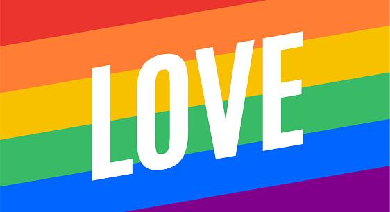 Love, LGBT flag. Poster, banner