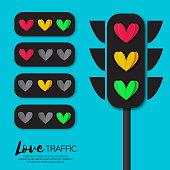 Love Lights. Traffic lights. Creative Concept. Romantic card on sky blue. Vector Illustration