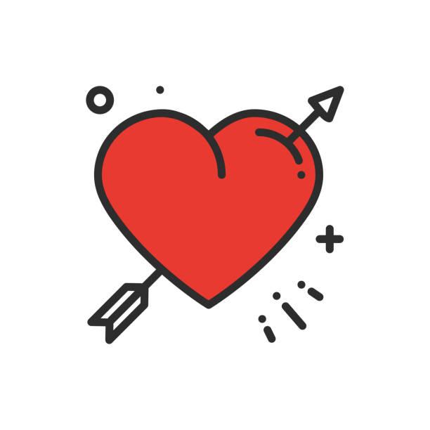 illustrations, cliparts, dessins animés et icônes de icône de coeur amour ligne arrow. heureuse saint-valentin journée signe et le symbole. amour, couple, relation, rencontre, mariage, vacances, amour romantique tatouage thème. - tatouages cœurs