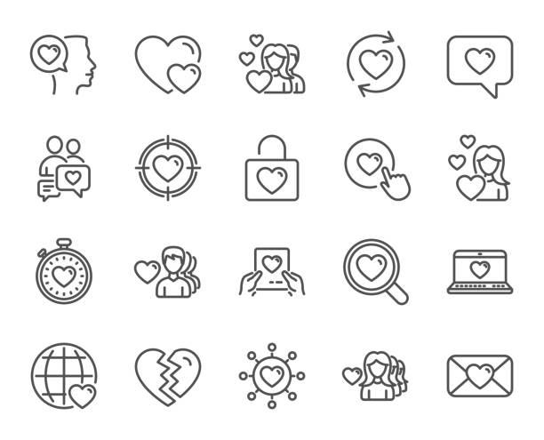 illustrazioni stock, clip art, cartoni animati e icone di tendenza di love line icons. couple, romantic and heart. - divorzio