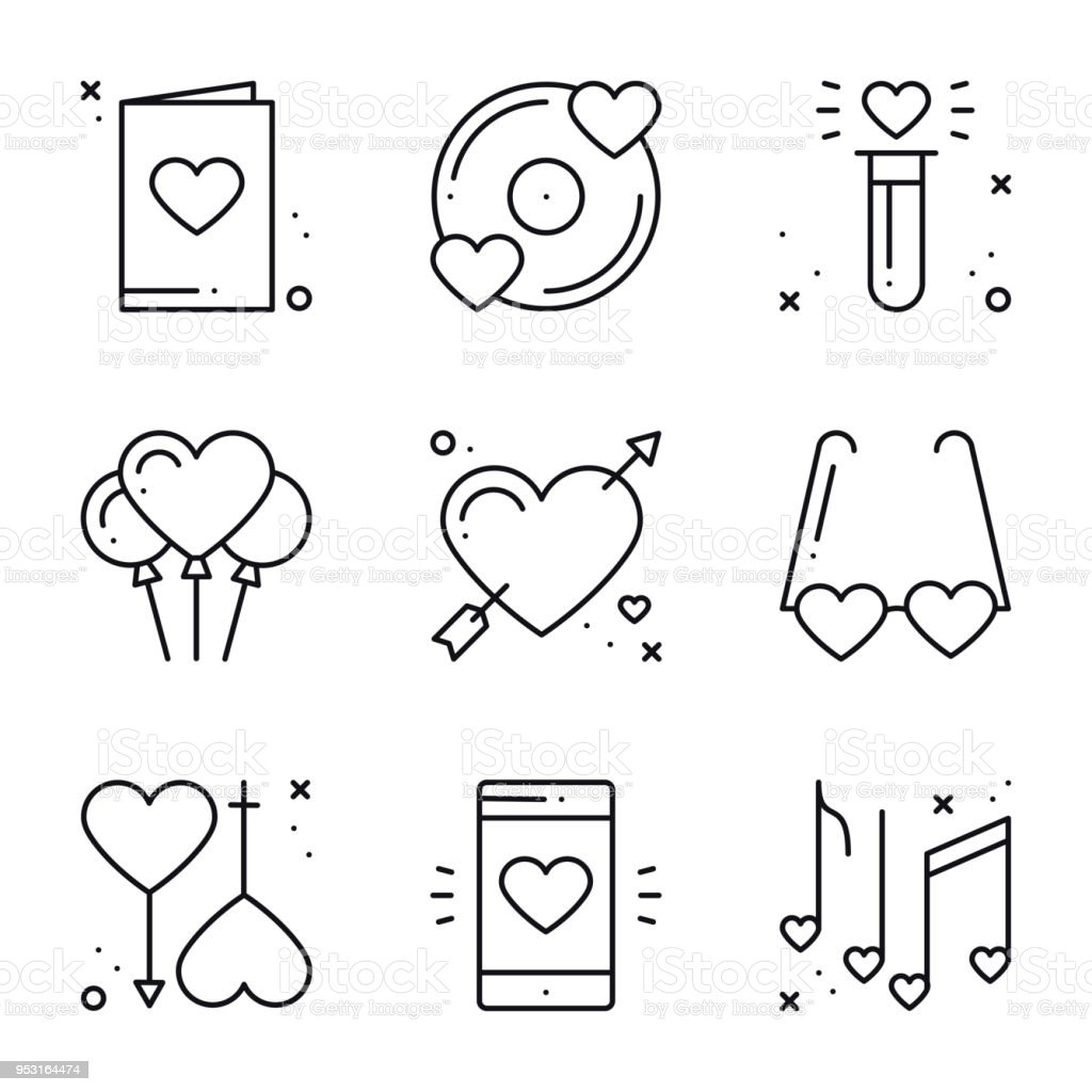 Love Line Icons Set Happy Valentine Day Signs And Symbols Love
