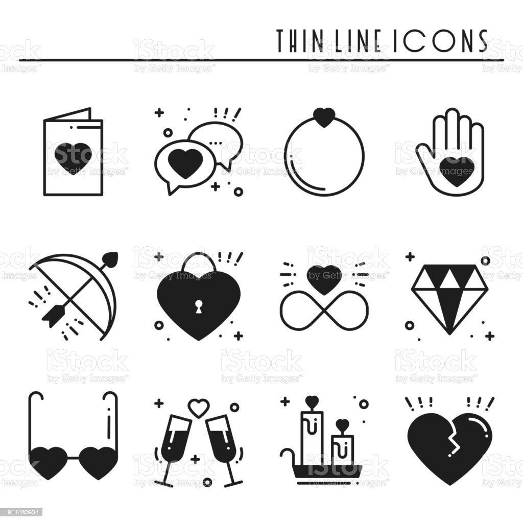 Love Line Icons Set Happy Valentine Day Silhouette Signs And Symbols