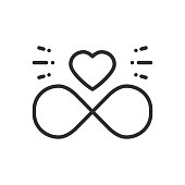 Love line infinite heart icon. Happy Valentine day sign and symbol. Love, couple, relationship, dating, wedding, holiday, romantic amour tattoo theme.