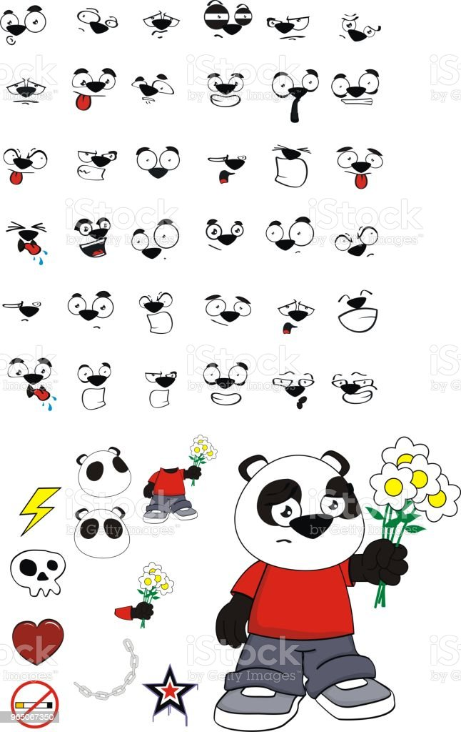 love little panda bear kid expressions set royalty-free love little panda bear kid expressions set stock vector art & more images of angel