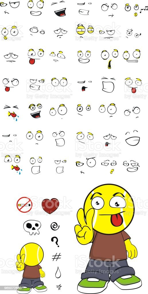 love little tennis head kid expressions set royalty-free love little tennis head kid expressions set stock vector art & more images of anger
