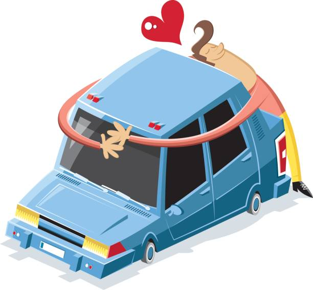 Love machine worked by adobe illustrator  car love stock illustrations