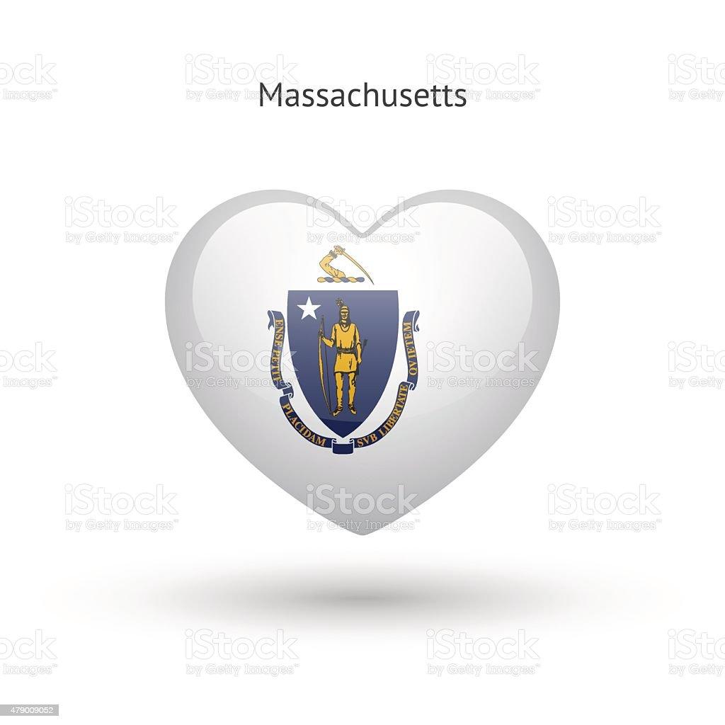 Love Massachusetts State Symbol Heart Flag Icon Stock Vector Art
