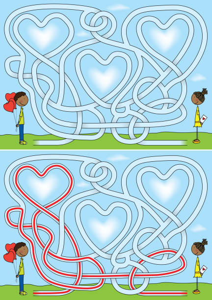 Love maze Love maze for kids with a solution african american valentine stock illustrations