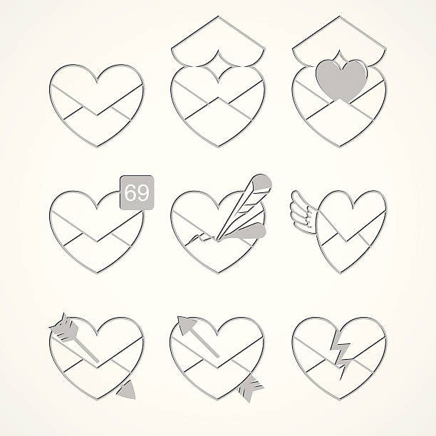 Love Message Icons vector art illustration
