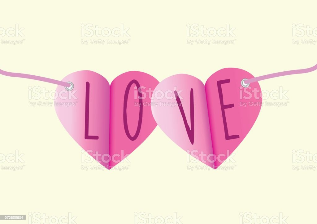 Love message in paper bunting as a vector illustration vector art illustration