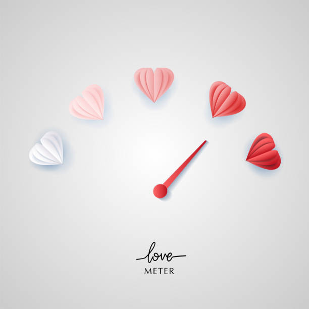 Love meter in speedometer design with paper cut style hearts. Vector illustration with heart symbols and pointer. Love meter Love meter in speedometer design.Vector illustration with heart symbols and pointer. car love stock illustrations