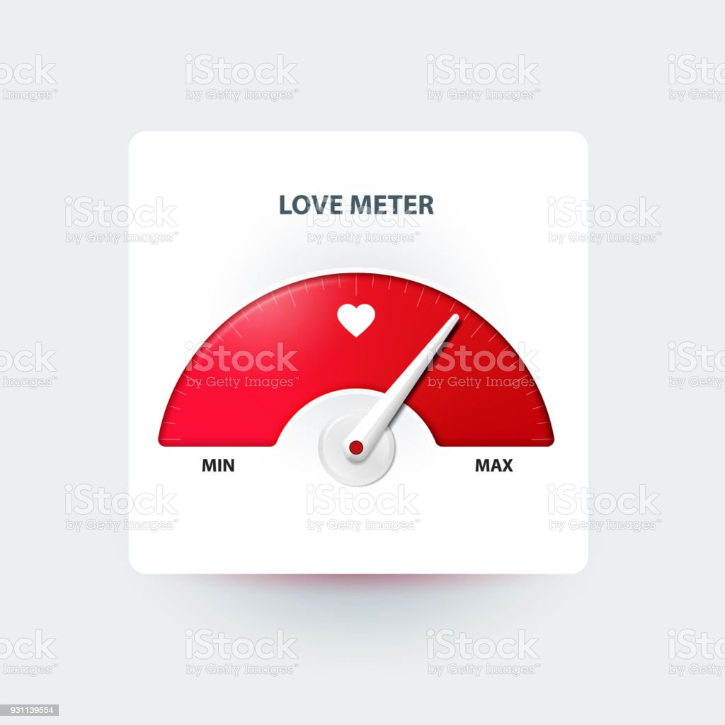 Love meter. Valentine's day greeting card design element. Measuring device of love. Vector illustration Abstract stock vector