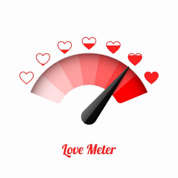 stockillustraties, clipart, cartoons en iconen met liefde meter - verleiding