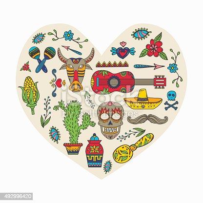 Jadore mexique ensemble de cuisine mexicaine traditionnelle et culturelles cliparts vectoriels - Cuisine mexicaine traditionnelle ...