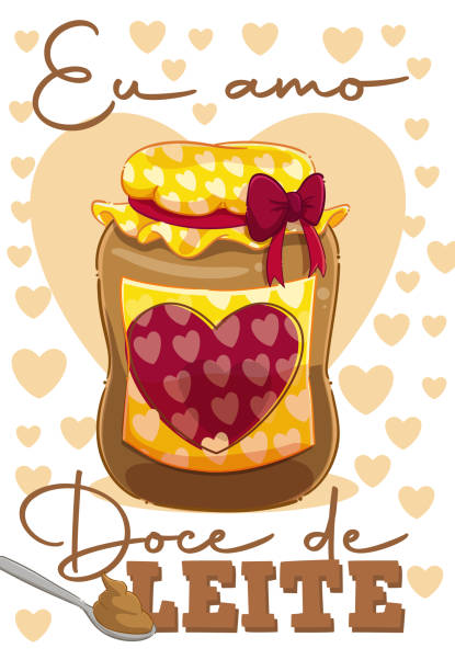 """I love Milk Sweet Cartoon style illustration of a jar and spoon of dulce de leche with the text """"I love dulce de leche"""". leite stock illustrations"""