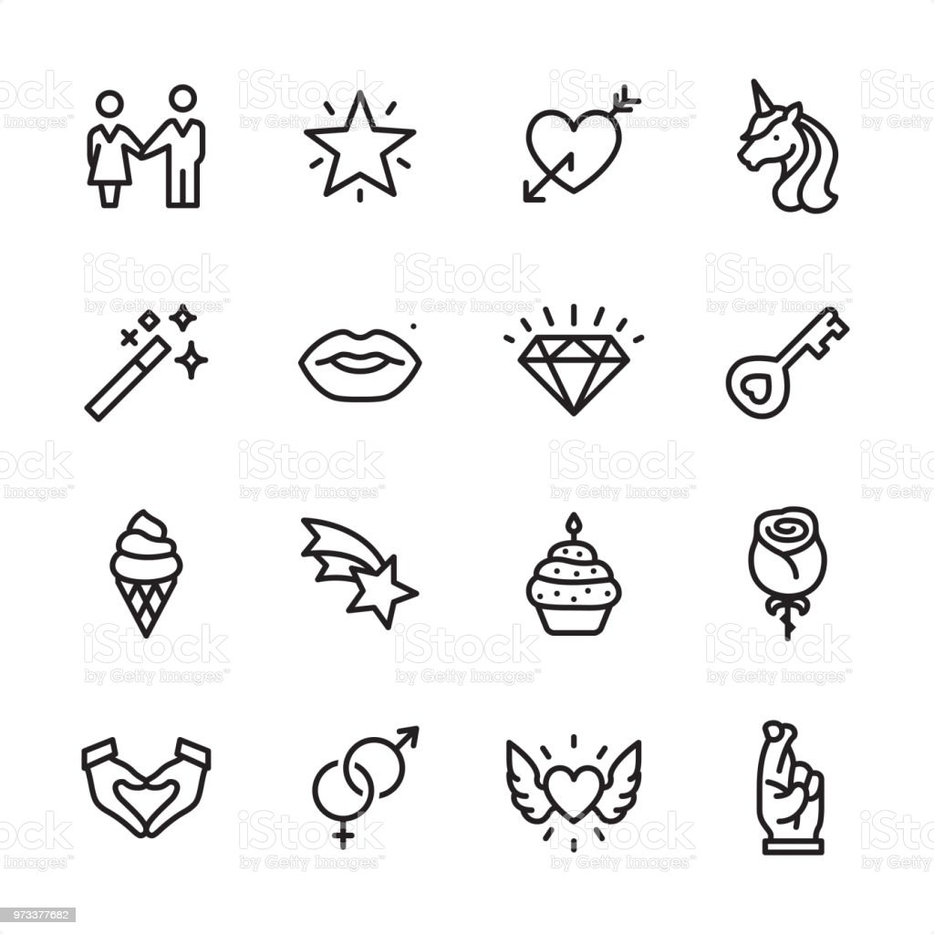 Love & Miracle - outline icon set 16 line black on white icons / Set #54 Pixel Perfect Principle - all the icons are designed in 48x48pх square, outline stroke 2px.  First row of outline icons contains:  Couple holding hands, Sparkling Star, Heart with Arrow, Unicorn icon;  Second row contains:  Magic Wand, Human Lips, Diamond-Gemstone, Key;  Third row contains:  Ice Cream Cone, Falling Star, Candle in Cupcake, Rose-Flower;   Fourth row contains:  Hands cupped in Heart Shape, Male and Female sex symbols, Flying Heart (Wings and Heart), Fingers Crossed.  Complete Inlinico collection - https://www.istockphoto.com/collaboration/boards/2MS6Qck-_UuiVTh288h3fQ Animal Body Part stock vector