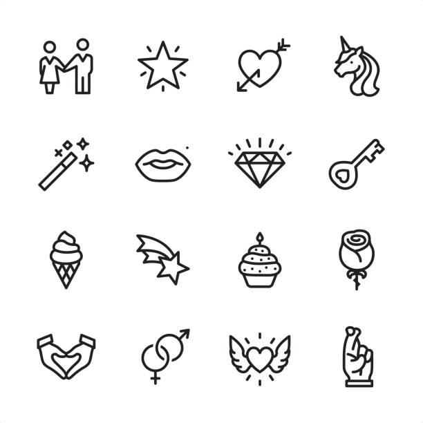 Love & Miracle - outline icon set 16 line black on white icons / Set #54 Pixel Perfect Principle - all the icons are designed in 48x48pх square, outline stroke 2px.  First row of outline icons contains:  Couple holding hands, Sparkling Star, Heart with Arrow, Unicorn icon;  Second row contains:  Magic Wand, Human Lips, Diamond-Gemstone, Key;  Third row contains:  Ice Cream Cone, Falling Star, Candle in Cupcake, Rose-Flower;   Fourth row contains:  Hands cupped in Heart Shape, Male and Female sex symbols, Flying Heart (Wings and Heart), Fingers Crossed.  Complete Inlinico collection - https://www.istockphoto.com/collaboration/boards/2MS6Qck-_UuiVTh288h3fQ unicorn stock illustrations