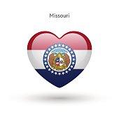 Love Missouri state symbol. Heart flag icon