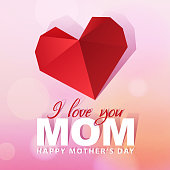 Celebrate the Mother's Day with heart shape paper art on the pink background