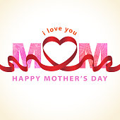 Celebrating the Mother's Day with red ribbon forming in heart shape