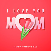 Celebrate the Mother's Day with paper craft of tulip on the heart shape and MOM typography