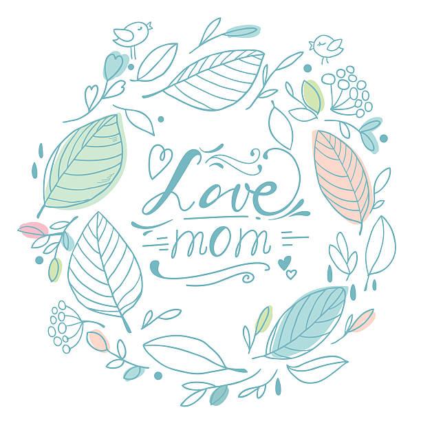 Love mom vector art illustration