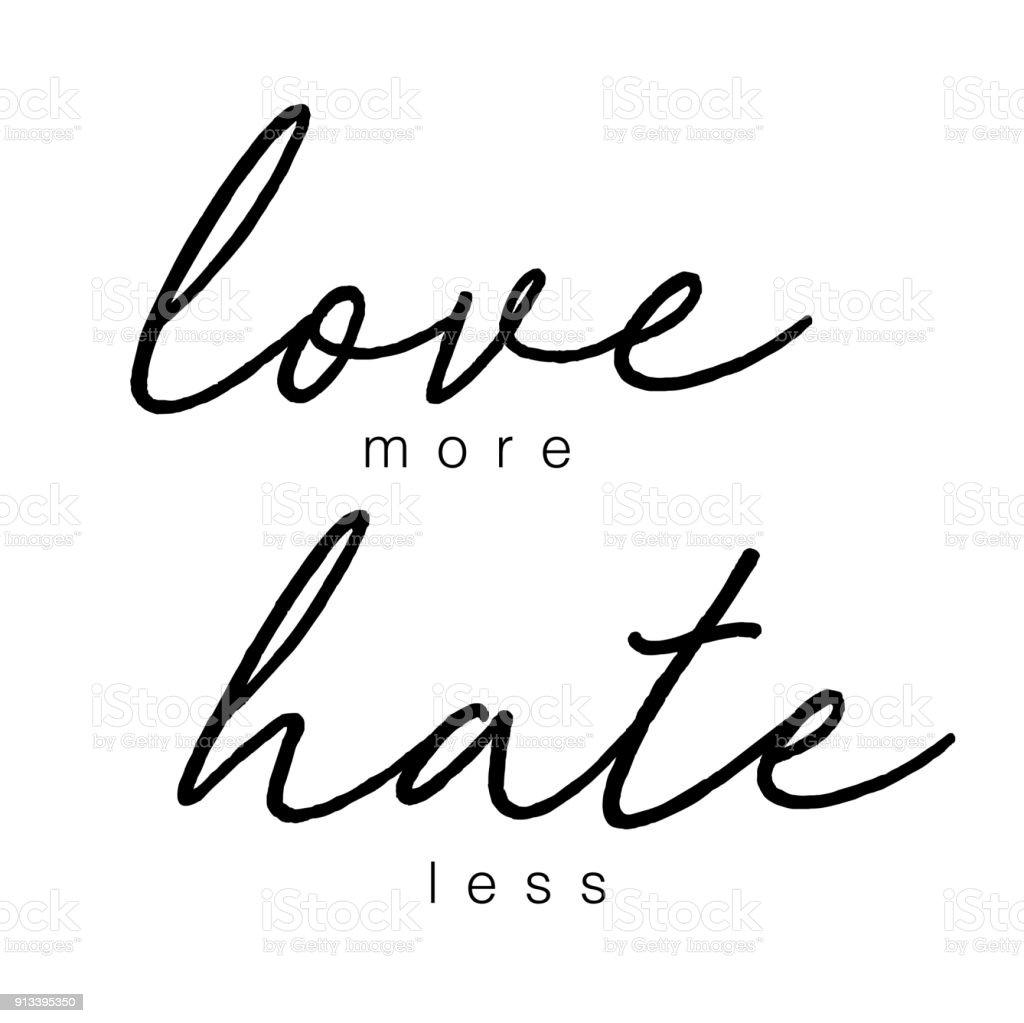 Ilustracion De Amor Odio Mas Menos Dibujado A Mano Letras Frase