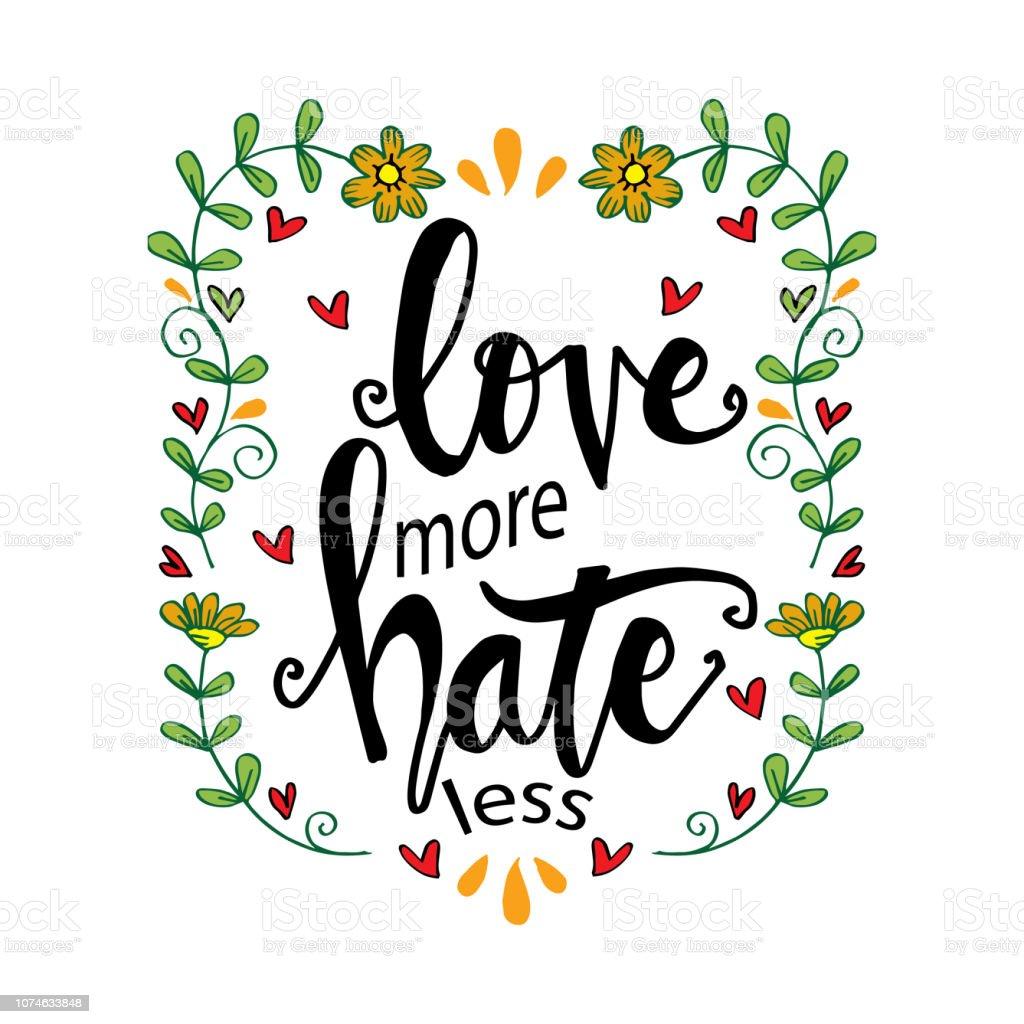 Ilustración De Amor Odio Más Menos Frase De Letras Dibujados