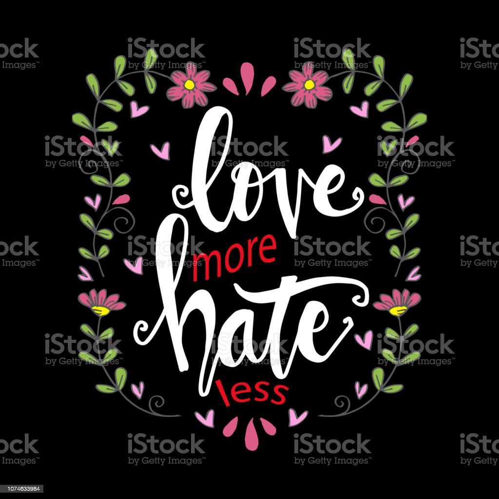Vetores De Amor Mais Odeio Menos Frase De Rotulação De Mão