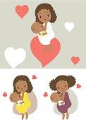 Vector illusatration - Mother breastfeeding baby boy(girl).