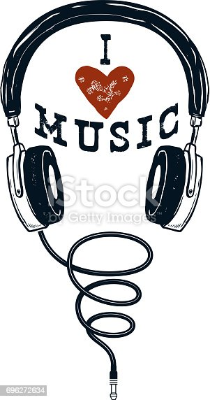 I love music. Hand drawn headphones. Design elements for poster, t-shirt. Vector illustration.