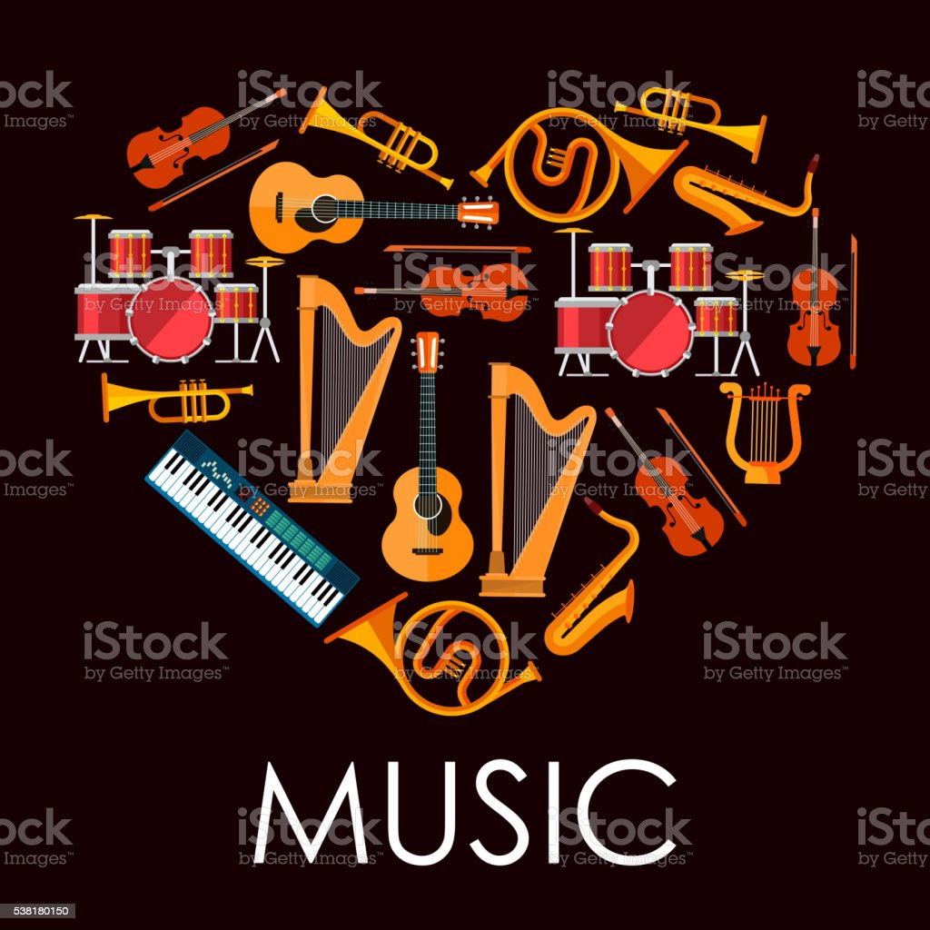 Love music heart made up of musical instruments vector art illustration