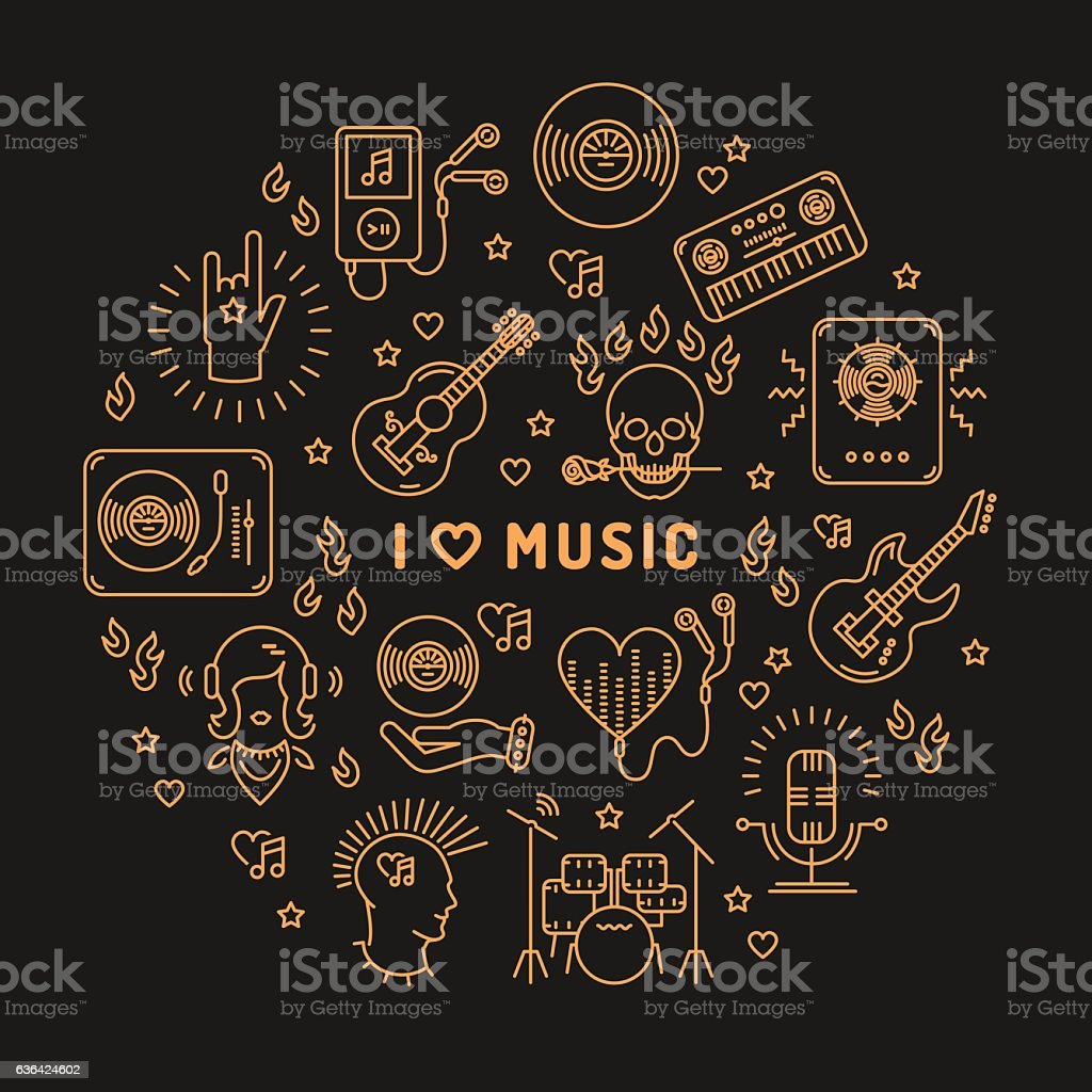 I love music line art icons Isolated circle infographic - Illustration vectorielle