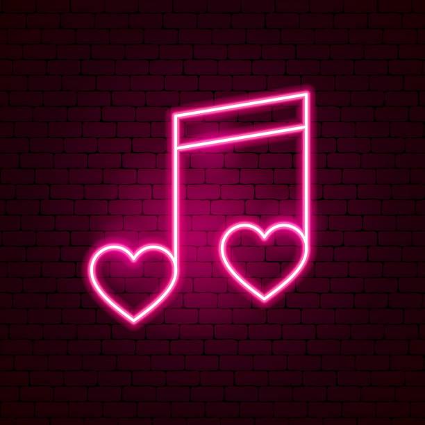 stockillustraties, clipart, cartoons en iconen met liefde muziek lichtreclame - zingen