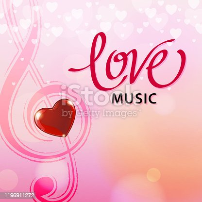 Romantic red heart and treble clef on the sparkle pink hearts background for the Valentine's Day