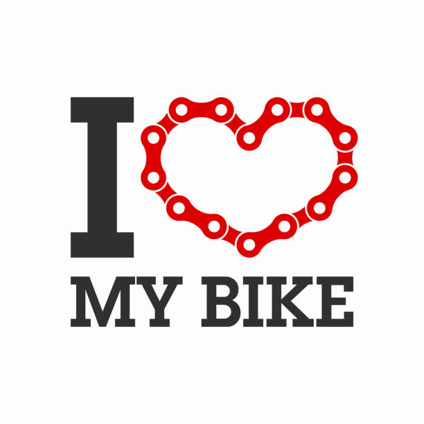 I love my bike I love my bike poster or t-shirt print element. Vector illustration vith transparent effect, eps 10. bicycle chain stock illustrations
