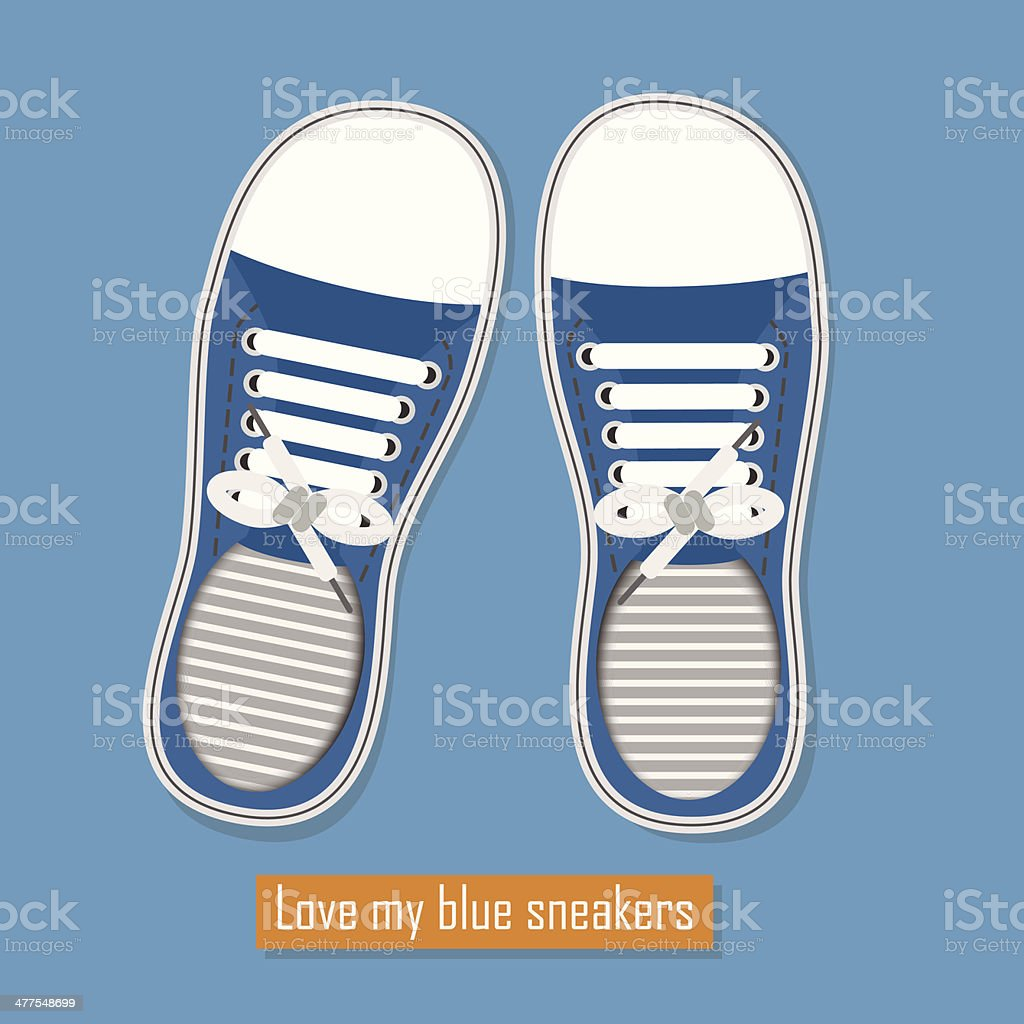 Love my blue sneakers vector art illustration