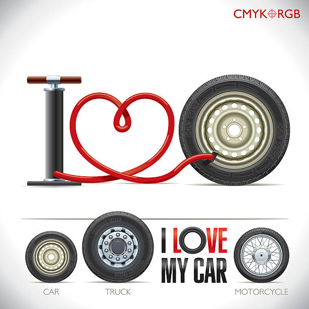 """I love my car The pump hose is curved in the form of heart and formed the phrase """"I love my car"""" car love stock illustrations"""