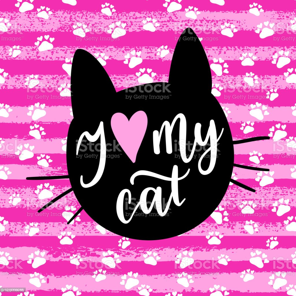 I Love My Cat Fashion Graphic Print Greeting Card Vector Hand