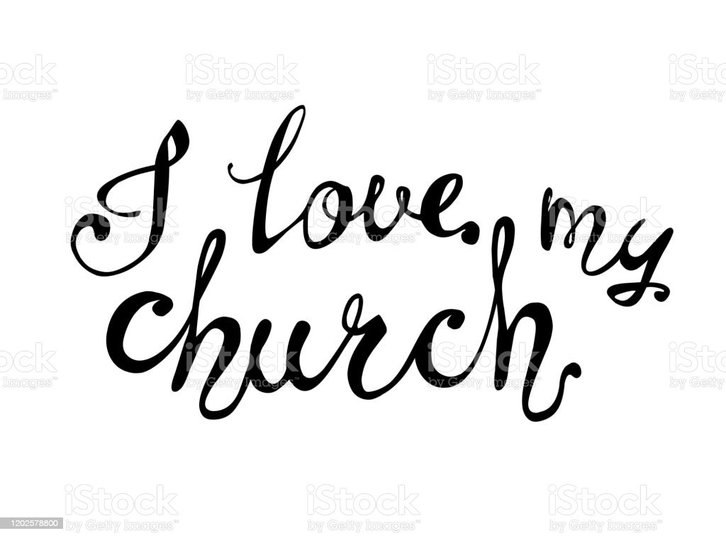 Download I Love My Church Calligraphic Letters Stock Illustration ...