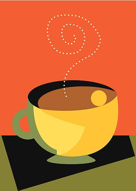 Love My Coffee with steam and a hug modern vektorkonstillustration