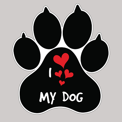 Download I Love My Dog Vector Animal Foot Paw Print Button Badge ...