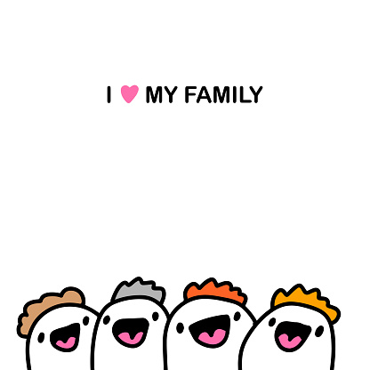 I Love My Family Hand Drawn Vector Illustration In Cartoon Comic Style People Happy Together Stock Illustration Download Image Now Istock