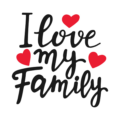I love my family unique quote. Modern brush pen lettering. Handmade text with red hearts. Handwritten printable design, trendy phrase for t-shirts, cards. Family Day. Vector illustration.