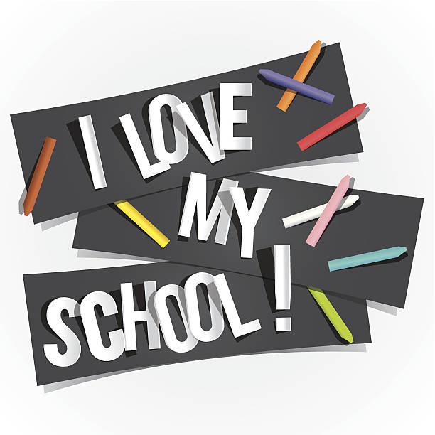 kocham moją school - back to school stock illustrations